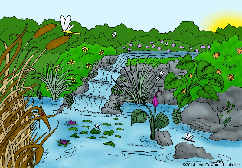 Illustration cartoons character design and picture book for Design of farm pond ppt